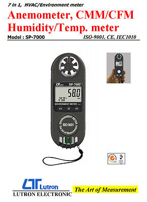 Lutron SP-7000 7 in 1 Sport / Weather HVAC Environment Meter Anemometer CMM CFM