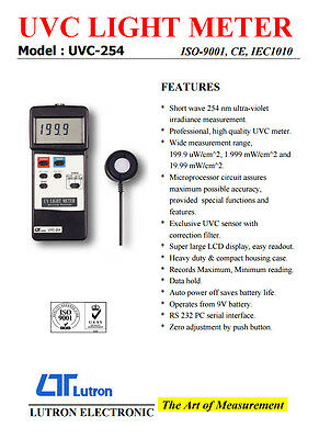 Lutron UVC-254 Professional UV Light Meter With RS232 Interface