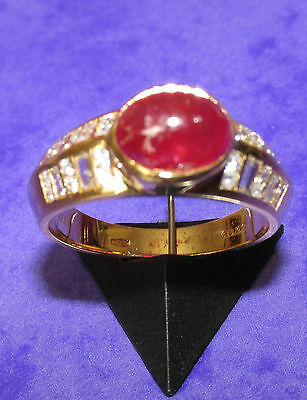 STUNNING SECONDHAND 18ct YELLOW GOLD RUBY AND DIAMONDS  RING SIZE M