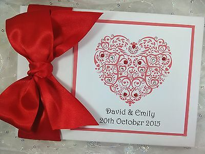 Personalised Wedding Handmade Guest Book Choose Colours And Name Filigree Heart