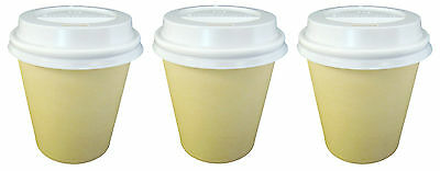150 Sets x 6oz TAN Single Wall Coffee Cups And Lids 177ml Paper Disposable