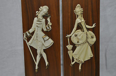 Vintage 1940's Ivory looking Figurines on Wood Plaques  Made in Italy