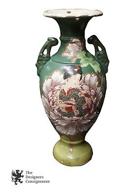 Hand Painted Signed Oriental Geisha & Floral Bud Vase Moriage Pottery Flowers