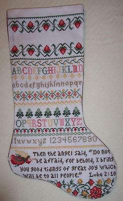 Sampler Christmas Stocking- Cross stitched piece - hand stitched