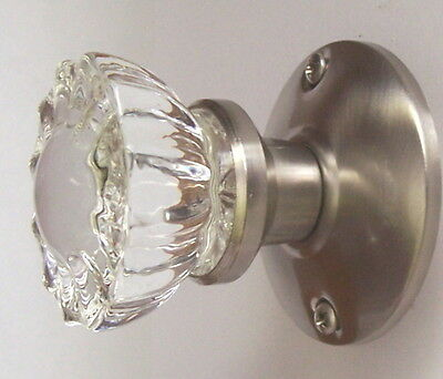 "Affordable Fluted Crystal Glass Passage Door Knob Set for Modern Door 2-3/4"" BS"