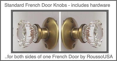 Reproduction of the 1920 Depression Crystal Glass FRENCH DOOR Knob Sets