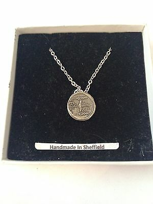 Cleopatra & Mark Antony CGALCP Emblem on Silver Platinum Plated Necklace 18""