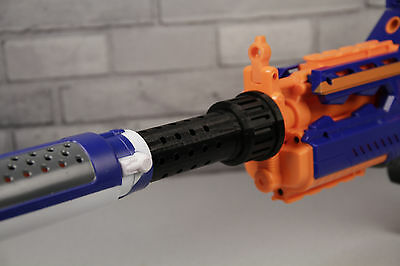 3D Printed – Vented Design Nerf Barrel Extension for Nerf Silencer Dart Gun +