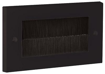 Black Brush Stripe Cable Entry Double 2 Gang Wall Face Plate Black Brushes
