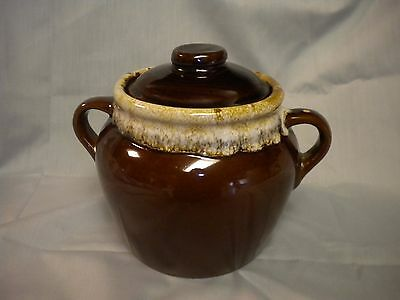 Monmouth Ill, Usa~  Brown Drip Bean Pot With Lid