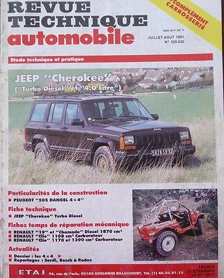 Revue technique 4X4 JEEP CHEROKEE TURBO DIESEL 4.0 ESSENCE RTA N° 529 530 1991