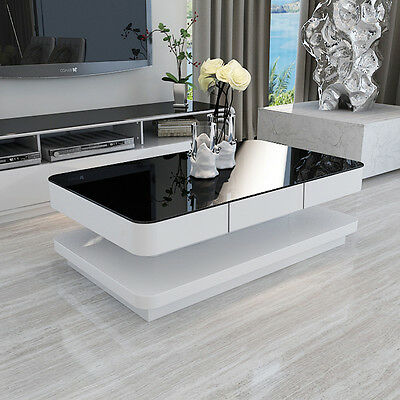 White Modern High Gloss Coffee Table With Black Tempered Glass Top