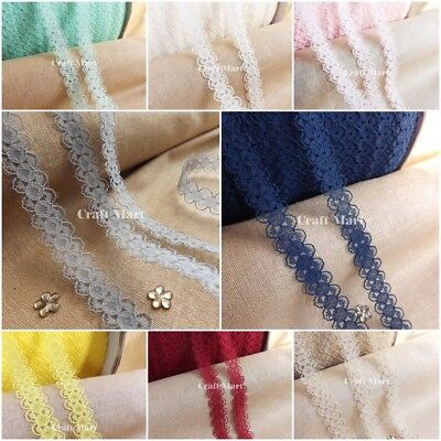 Narrow lace ribbon trimming BRIDAL CRAFTS VINTAGE - 10mm wide �� 10 COLOURS ��