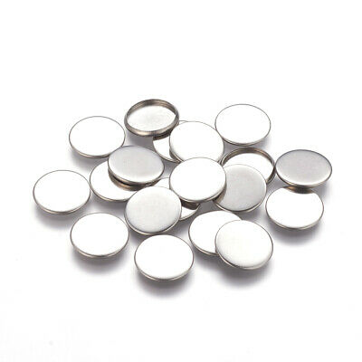 20pc Flat Round 304 Stainless Steel Cabochon Setting Tray Blank Component 14x2mm