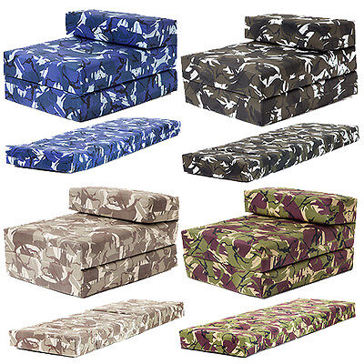 Camouflage Design Boys Bedroom Chair Beds Single or Double Z Bed Foam Sofa Futon