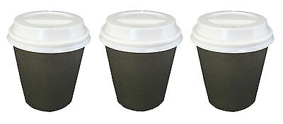 1000 Sets x 6oz BLACK Single Wall Coffee Cups And Lids 177ml Paper Disposable