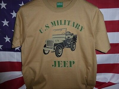 T  SHIRT beige US MILITARY JEEP  tailles L XL XXL ( MB MA  WILLYS FORD ) tee