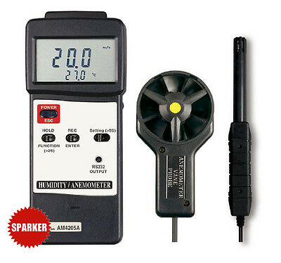 AM-4205A  NEW LUTRON ANEMOMETER/HUMIDITY/TEMP. METER TESTER +K/J Thermometer