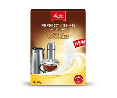 MELITTA PERFECT CLEANER 4 x 20G SACHETS FOR TEA + COFFEE ACCESSORIES MEL6574765