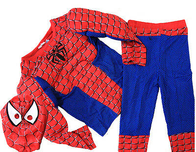 NEW Sz 2~8 BOYS KIDS SUPERHERO PARTY COSTUME TODDLER SPIDERMAN RED MUSCLE MASK