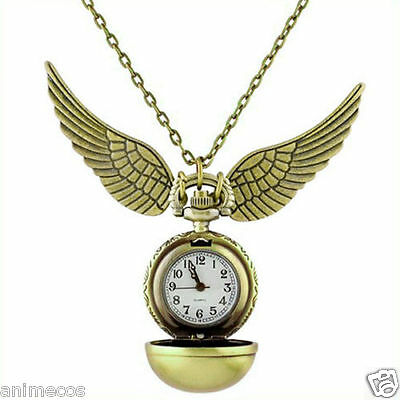 Harry Potter Snitch Watch Pendant Necklace Steampunk Quidditch Wings GOLDEN