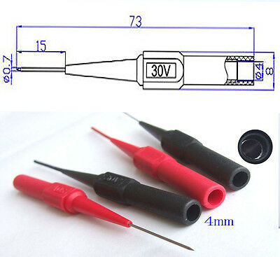 2PCS H Quality Insulation Piercing Needle Test Probes for 4mm banana plug jack