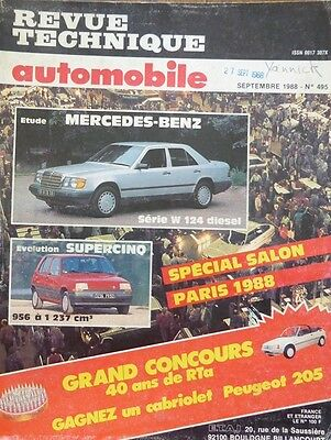 Revue technique MERCEDES W 124 200 250 300 berline break DIESEL RTA N° 495 1988