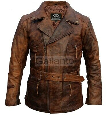 Eddie Mens 3/4 Motorcycle Biker Brown Distressed Vintage Leather Jacket