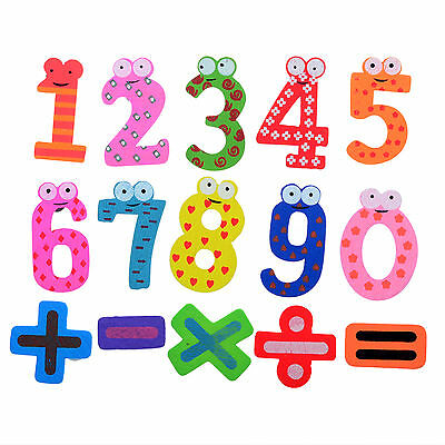 15pcs Wooden Cartoon Numbers Alphabet Fridge Magnets for Kids Baby Toys Games