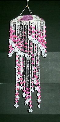 """29"""" Pink & White Bubble Sea Shell Wind Chime  Hand Made Decor Beach Chandelier"""
