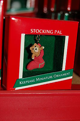 Hallmark 1989 Miniature Stocking Pal Bear MINI Ornament