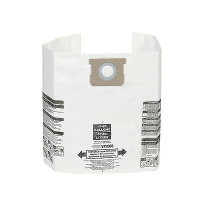 Multi-Fit VF2008 General Dust Filter Bag Wet Dry Shop Vacuum 15 to 22G 3 Pack