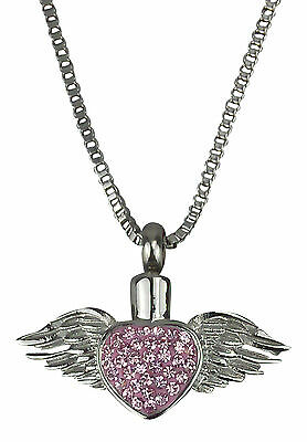 Cremation Jewellery - Memorial Ash Urn Pendant - Winged Heart - Engraving