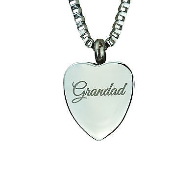 Cremation Jewellery - Memorial Ash Urn Pendant - Grandad Heart - Engraving