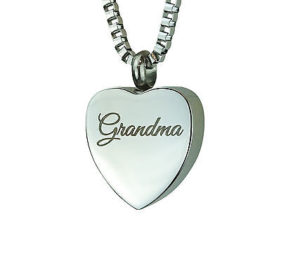 Cremation Jewellery - Memorial Ash Urn Pendant - Grandma Heart - Engraving