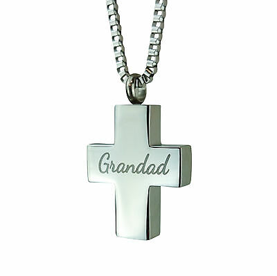 Cremation Jewellery - Memorial Ash Urn Pendant Keepsake - Grandad Cross