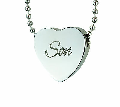 Cremation Jewellery - Memorial Ash Urn Pendant - Son Heart - Engraving