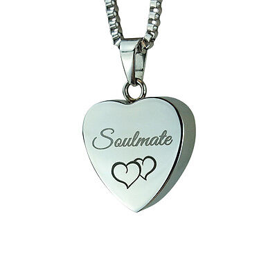 Cremation Jewellery - Memorial Ash Urn Pendant - Soulmate Heart - Engraving
