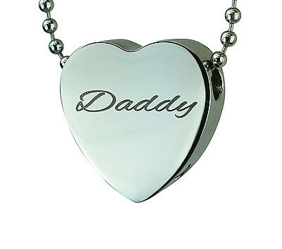 Cremation Jewellery - Memorial Ash Urn Pendant - Daddy Heart - Engraving