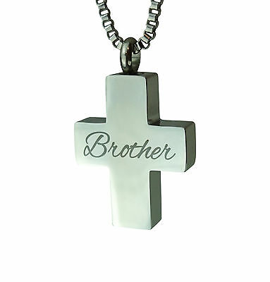 Cremation Jewellery - Memorial Ash Urn Pendant - Brother Cross - Engraving