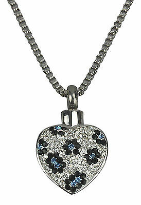 Cremation Jewellery - Ashes Urn Pendant - Crystal Flower Heart - Engraving