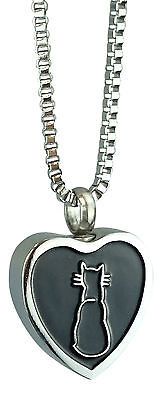 Cat Heart Urn Pendant - Memorial Ash Cremation Jewellery - Engraving Available