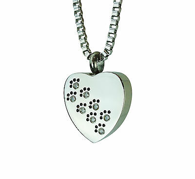 Paws on Heart Urn Pendant - Memorial Ash Cremation Jewellery - Engraving