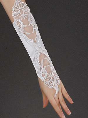 Women Bridal Bride Long Hollow Out Embroidered Lace Floral Wedding Gloves