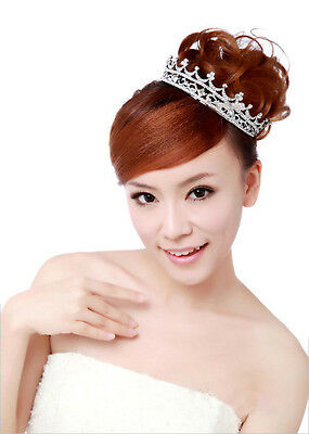 Wedding Bridal Princess Austrian Crystal Tiara Crown Veil Hair Accessory Silver