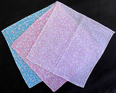 4 Ladies Childrens Handkerchiefs with Dotted Flower Pattern, Aqua, Pink, Lilac