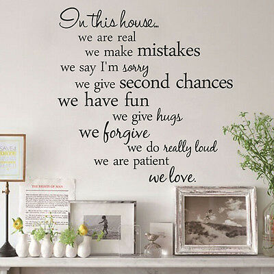 Black Family DIY Removable Art Vinyl Quote Wall Stickers Decal Mural Home Decor