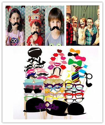 58pcs Wedding Props On A Stick Mustache Photo Booth Halloween Party Birthday UK