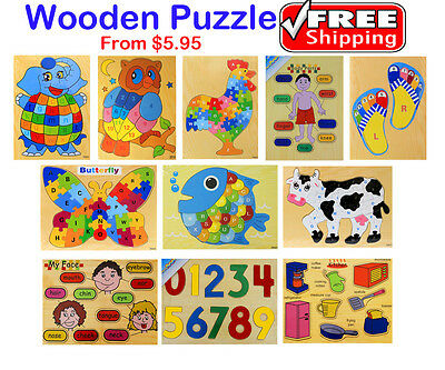 New Kids Educational Wooden Puzzle Jigsaw Boys Girls Christmas Gift Toys