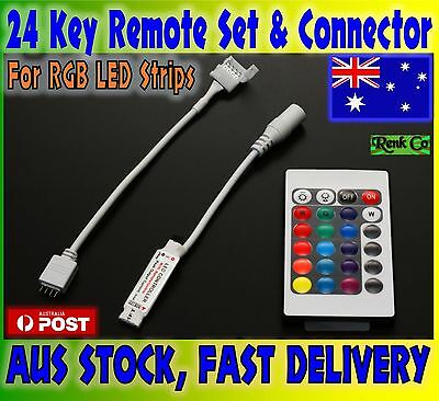 24 Key IR Remote, RF Controller and Connector for RGB 3528 5050 LED Light Strip